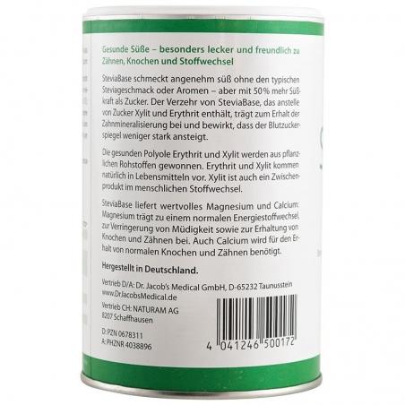 immagine della confezione di Stevia base Gr 400 | dolcificante naturale, vista retro.