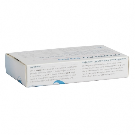 immagine della confezione integratore Mamma Sana, 30 cellule Metagenics, vista laterale del modo d'uso e degli ingredienti