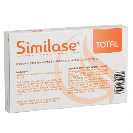 immagine della confezione integratore Similase Total,15 capsule Metagenics, vista del retro, con modo d'uso ed ingredienti