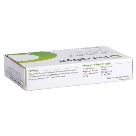 immagine della confezione Integratore FerroDyn 30 capsule di Metagenics, ingredienti