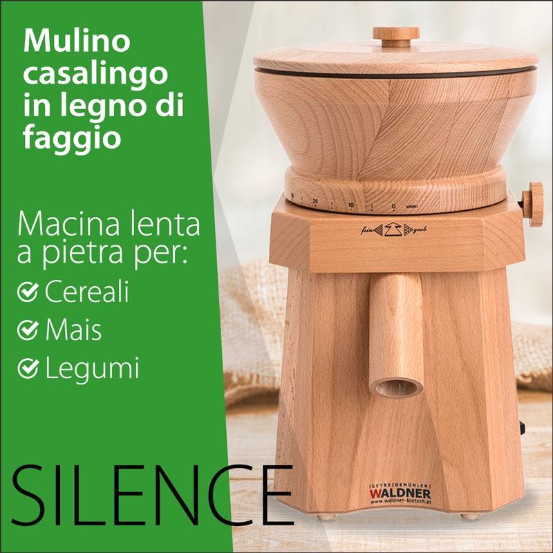 Immagine del Mulino in legno per farine, Waldner modello Silence, vista frontale