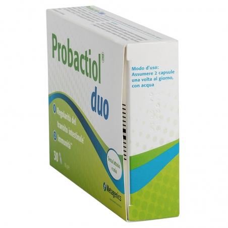 immagine della confezione Integratore Probactiol Duo 30 capsule di Metagenics, modalità d'uso