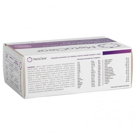 immagine della confezione Integratore MetaClear 60 compresse di Metagenics, vista del particolare degli ingredienti