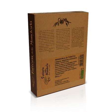 immagine della confezione della Mandorla di Toritto Bio | Fattoria della Mandorla Gr 500, vista retro