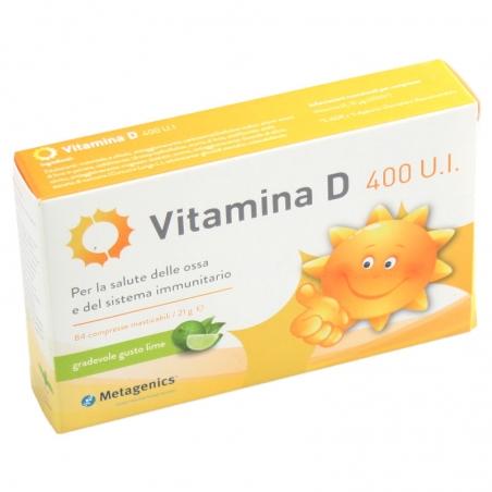 immagine della confezione Integratore Vitamina D 400 U.I.  84 compresse masticabili Metagenics , vista frontale