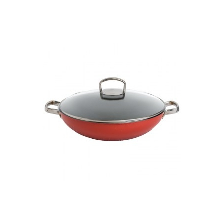 immagine del wok Silit  Energy Red, diametro 36 cm con coperchio in vetro, visone frontale