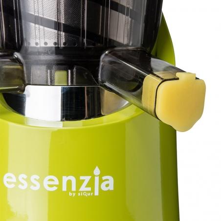vista frontale del particolare del Tappo Salvagoccia inserito all'interno del foro dell' Estrattore di succo vivo Essenzia Green