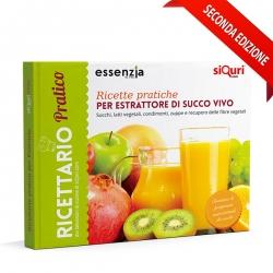 immagine della copertina del libro ricettario pratico, con ricette per strattone di succo vivo, succhi, latti vegetali, condimen