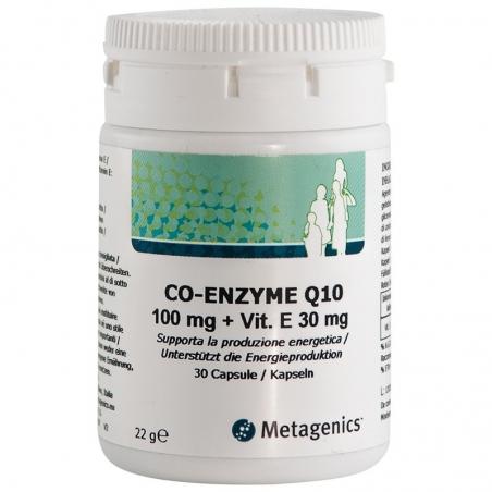 immagine della confezione dell'integratore di Metagenics Coenzima Q10 Mg 100 + Vitamina E - 30 capsule