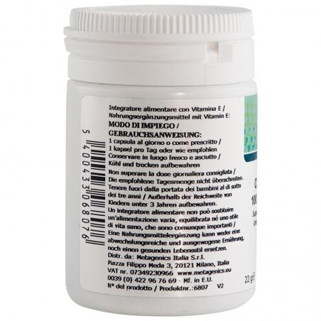 immagine della confezione dell'integratore di Metagenics Coenzima Q10 Mg 100 + Vitamina E - 30 capsule, modo d'impiego