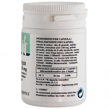 immagine della confezione dell'integratore di Metagenics Coenzima Q10 Mg 100 + Vitamina E - 30 capsule, ingredienti