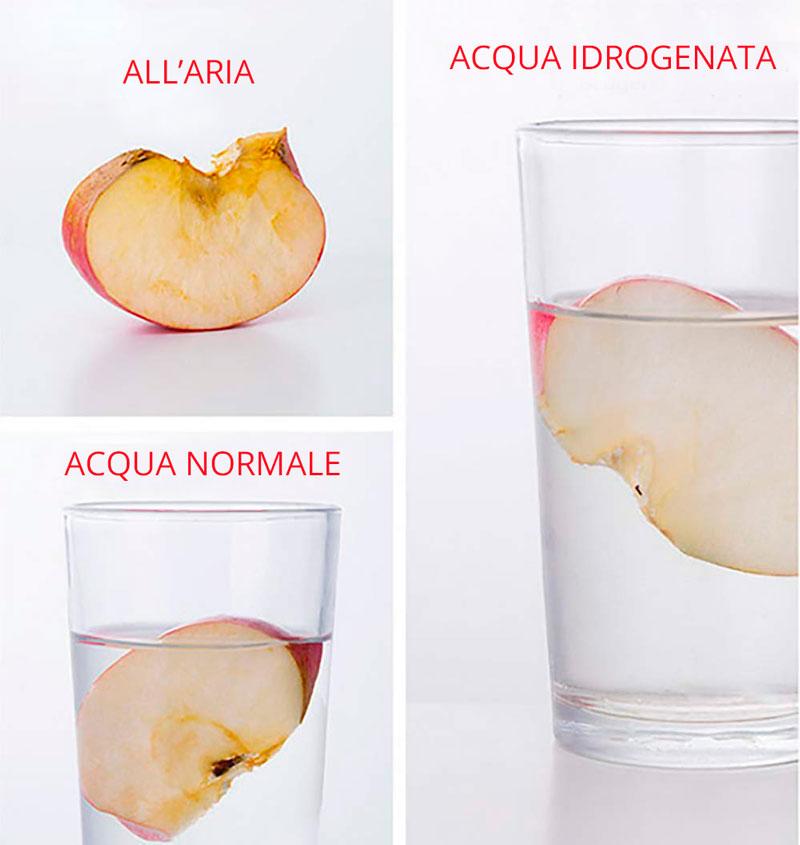Esperimento della mela con acqua idrogenata
